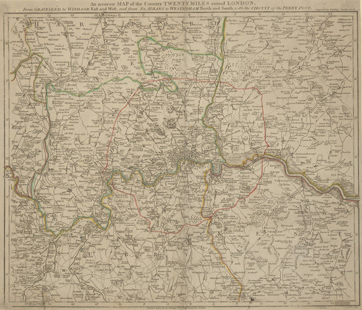 An accurate MAP of the Country TWENTY MILES round LONDON. From GRAVESEND to WINDSOR East and West, and from ST. ALBANS to WESTERHAM North and South with the CIRCUIT of the PENNY POST
